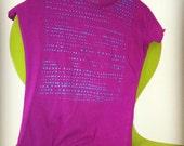 Creative dot Hand pulled screen print shirt (burgundy)...FREE SHIPPING...