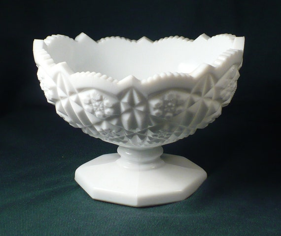 Centerpiece Bowl Milk Glass Saw Tooth Stars Daisies Buttons
