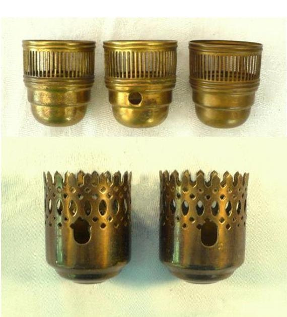 5 Reticulated Brass Chandelier Candle Cups