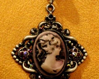 Lavender Cameo Pendant Necklace