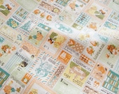 Fat Quarter of Kawaii Japanese Cotton Linen Fabric - Yellow and Green Stamps Combo