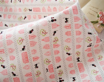 On Sale - A Fat Quarter of Kawaii Japanese Cotton Linen Fabric - Black Cat and House White or Pink Combo