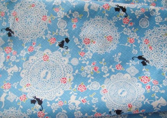 Fat Quarter of Kawaii Japanese Cotton Linen Printed Fabric - Black Cat Blue Combo