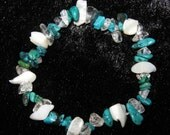 Turquoise, Mother of pearl and Rock Crystal - 3 Gemstone Bracelet - one size fits all