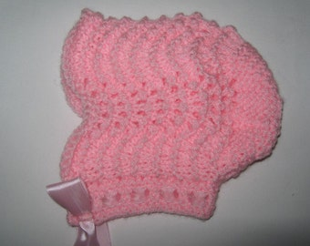 Pretty in pink - Baby bonnet made from Victorian pattern, 13 - 15ins.  FREE p&p in UK