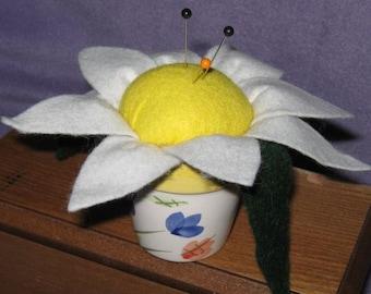 Up-cycled Ceramic Mini-Planter with DAISY - 'Pin Cushion'
