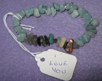 I Love You - Secret Message Bracelet in 100% natural gemstones - Amazonite - one size fits all