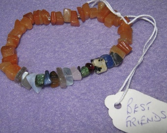 Best Friends - Secret Message Gemstone Bracelet in 100% natural Carnelian gemstones