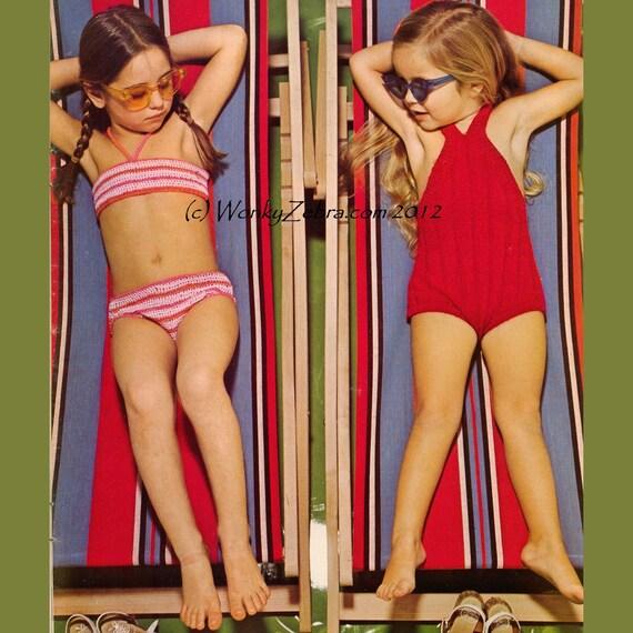 Vintage Crochet and Knit Pattern B226 PDF Childs Bikini Swimsuit from WonkyZebraBaby