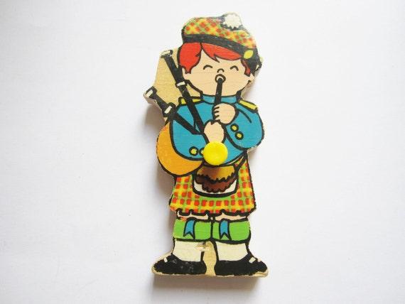 Vintage puzzle piece magnet, Scotch Boy Magnet, Children around the World