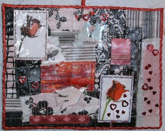 """Roses and hearts collage 11 1/2"""" x 9"""""""