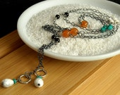 Necklace Sterling Silver Lariat, Turquoise, Natural Stones - modern, organic, beaded