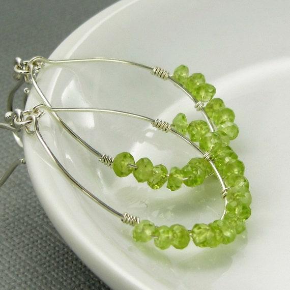 Sterling Silver Peridot Hoop Earrings - gemstones, spring green, wire wrapped, beaded