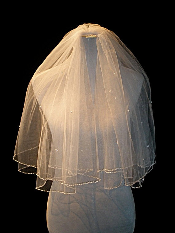White Elbow Length Two Tier Wedding Veil with Pearls and Rhinestones