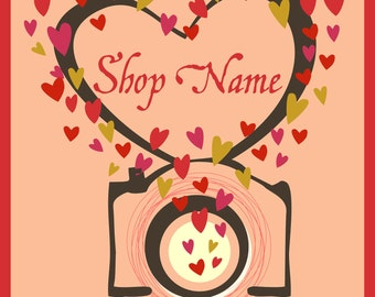 Custom Love Photography video camera shop design banners avatars premade etsy shop set in orange and red hearts pattern 9 NOT OOAK files