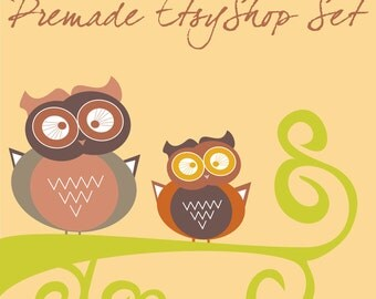 Premade Etsy Shop Banner Set Owl Birds on Tree in pastel pale colors 9 NOT OOAK Graphic Design files Customize your Shop Header Bio Recycle