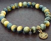 Blue Tiger's Eye Protection Mala Bracelet - Blue Tiger's Eye & Gold or Silver Om Mala Bracelet - Yoga, Buddhist, Meditation, Jewelry