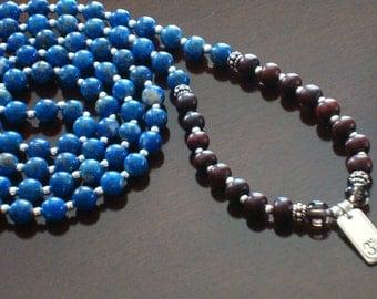 Intuition Mala - AAA Plus Lapis Lazuli & Ebony Om Mala Necklace and Bracelet - Yoga, Buddhist, Prayer Beads, Jewelry