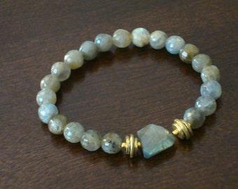 Strength Mala Bracelet // Labradorite Wrist Mala Bracelet // Meditation, Yoga, Buddhist, Mala Beads, Jewelry