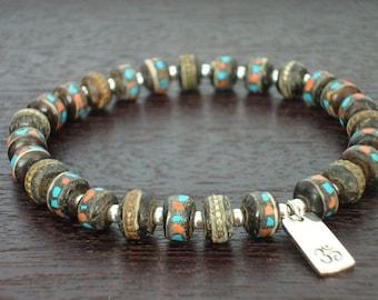 Tibetan Tantric Om Mala Bracelet - Tibetan Turquoise, Coral, & Sterling Silver Om Mala Bracelet - Yoga, Buddhist, Meditation, Jewelry
