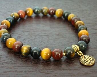 Men's Mixed Tiger's Eye Wrist Mala // Mixed Tiger Eye & Om Mala Bracelet // Yoga, Buddhist, Meditation, Prayer Beads, Jewelry