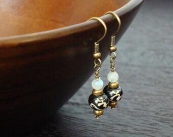Women's Moonstone & Tibetan Om Earrings // Hand Scripted Tibetan Om Mantra Earrings // Yoga, Buddhist, Women, Jewelry, Om, Aum, Earrings