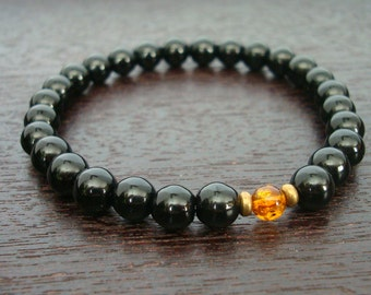 Men's Onyx & Baltic Amber Mala Bracelet // Black Onyx and Genuine Baltic Amber Bracelet // Yoga, Buddhist, Meditation, Prayer Beads, Jewelry