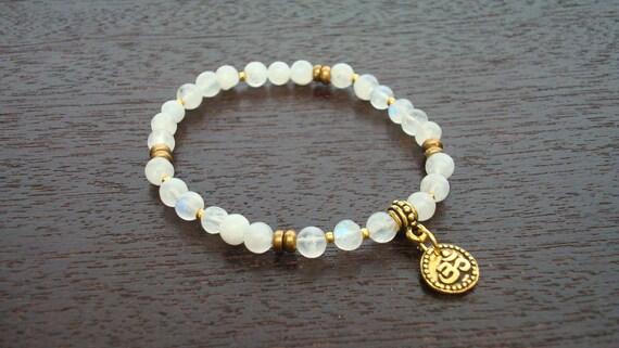Moonstone Shakti Mala Bracelet - Moonstone & Gold Om Chakra Bracelet - Yoga, Buddhist, Meditation, Prayer Beads, Jewelry