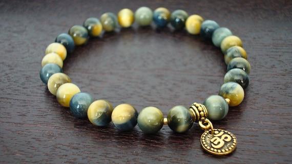 Blue Tiger's Eye Protection Mala Bracelet // Blue Tiger's Eye & Gold or Silver Om Mala Bracelet // Yoga, Buddhist, Meditation, Jewelry