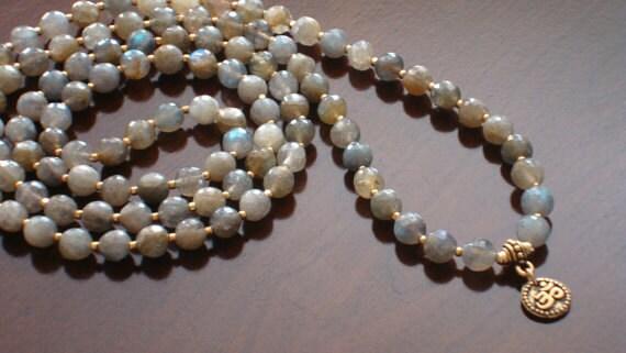 Labradorite Strength Mala - Necklace and Wrap Bracelet - Yoga, Buddhist, Meditation, Prayer Beads, Jewelry - Free Shipping Etsy