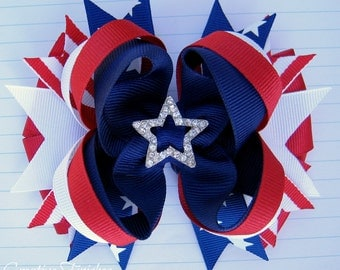 Red White and Blue Bow Rhinestone Star Center Fourth of July Hair Bow