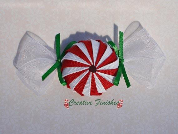 Peppermint Hair Clip Christmas Hair Bow