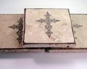 Cross Design Travertine Tile Coasters - Set of 4