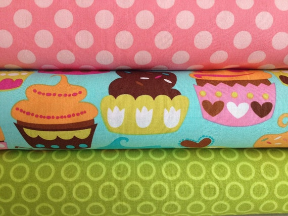 Michael Miller Sweet Treats Cupcakes & Dots Half Yard Bundle - 1.5 yards total