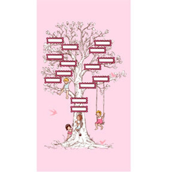 Children at Play - Family Tree Panel in Pink - DC5139-PINK-D - 1 Panel