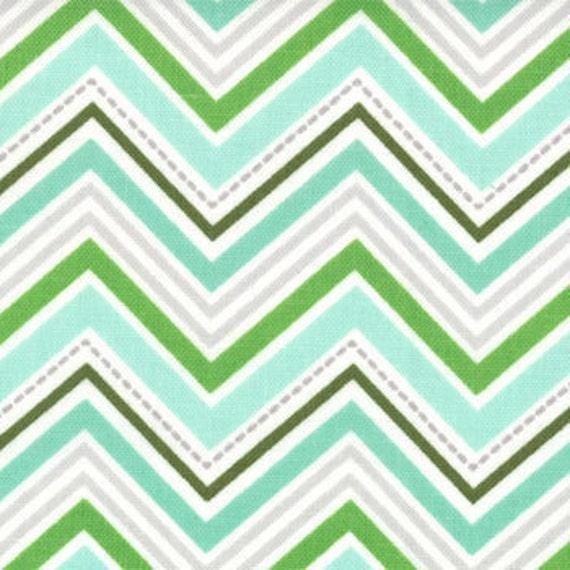 Joy by Kate Spain - Tree Line Chevron in Winter Mint Green - Christmas Fabric, 1 yard
