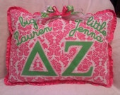 Delta Zeta Little and  Big Sister Greek Letter Pillow Pink and Green with custom names