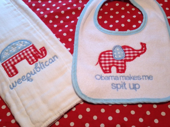 Weepublican bib and burp cloth set Republican Obama makes me spit up Humourous