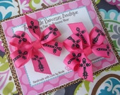 Hot Pink and Black Cross 2 Piece Pinwheel Hair Bow Set--Ready to Ship