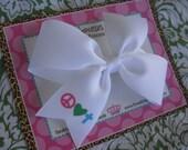 Peace Love Cross 4 Inch Bow Prints Half Pinwheel Hair Bow--Ready to Ship