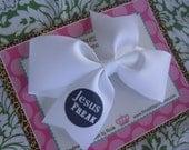 Jesus Freak 4 Inch Bow Prints Half Pinwheel Hair Bow--Ready to Ship