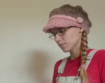 Newsboy Hat: Crocheted Newsboy Style Pink And Brown Cap