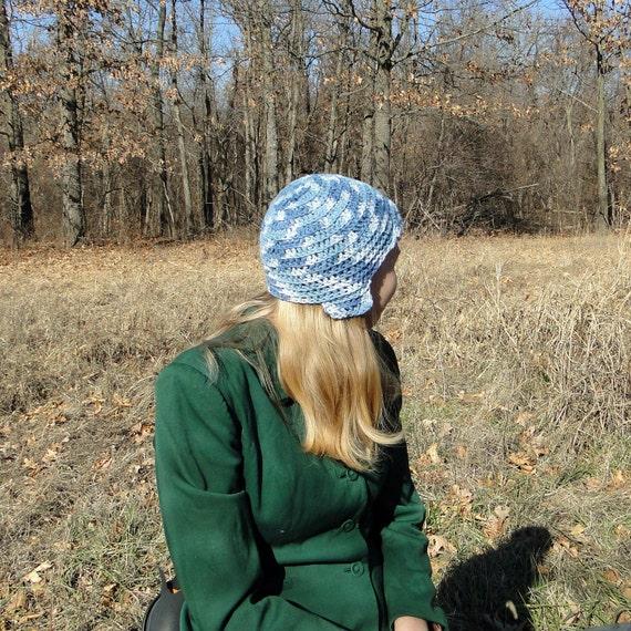 Blue Hat: Funky Cap/ Multi Blue Helmet Hat Crocheted
