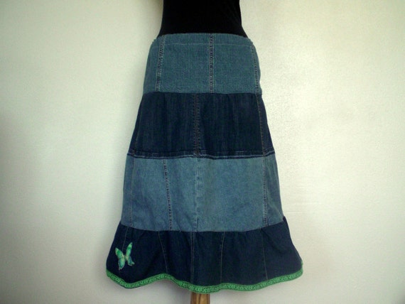 Denim Skirt: Tiered A-Line Jean Skirt with Lace And Butterfly