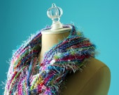 SALE: The Confetti Scarf -  Knitted Multicolored and Multiyarn Pastel Scarf with Fringe and Beads