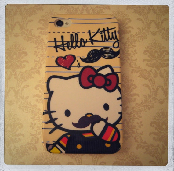 Hello Kitty hearts Moooshtash iPhone 4 and 4S Hard case with Matching Wallpaper