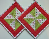 Quilted  Pot Holders Pinwheels and Polka Dots