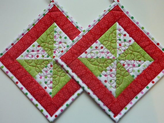 Items Similar To Quilted Pot Holders Pinwheels And Polka