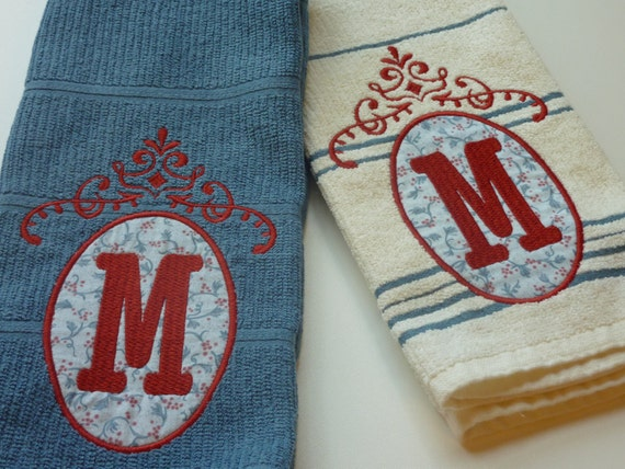 Items Similar To Kitchen Tea Towels Monogrammed Towels Blue Tea Towels Personalized Towels