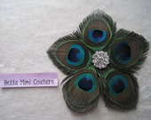 Custom Couture Flower Peacock Feather Rhinestone Pin/ Photo Prop/ Mommy and Me